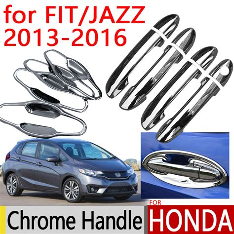 Handle Cover Dan Outer Chrome All New Jazz 2012 1 for honda fit jazz 2013 2016 accessories chrome door handle 2014 2015 luxury no rust car covers