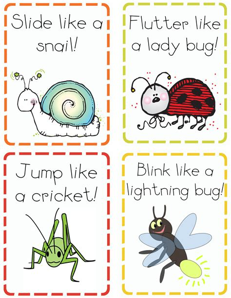 printable animal action cards i is for insects mommy school oopsey daisy