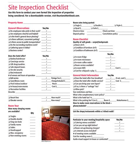 how to conduct a hotel site inspection