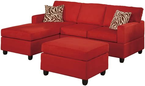 Microfiber Sectional Sofa Set 3 Piece Red Reversible Microfiber Sectional Sofa