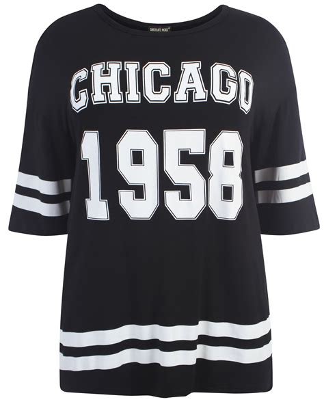 Blouse B 1958 new womens oversize varsity 1958 chicago baggy t shirt tops 8 22