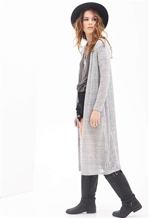 99022 Zada Gray 2 In 1 Maxi forever 21 marled knit maxi cardigan in gray lyst