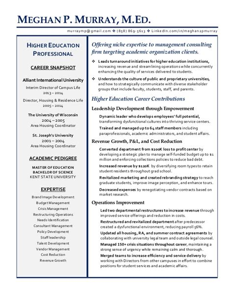 higher education resume sles meghan murray managment consultant higher education resume