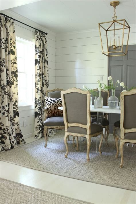 Gray Dining Room Curtains Schumacher Pyne Hollyhock Print Charcoal Drapes Sherry