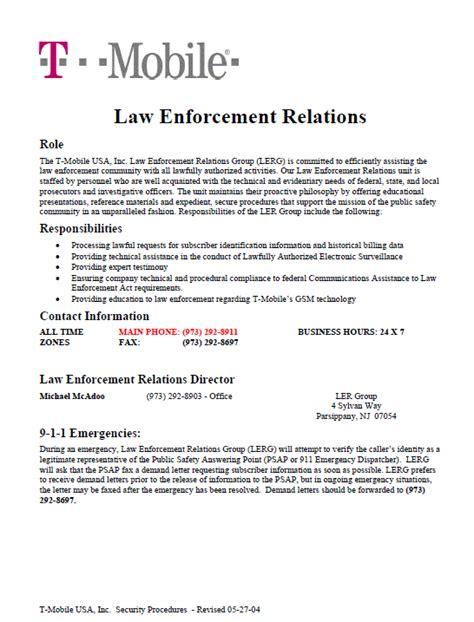 T Mobile Letter Of Credit t mobile enforcement relations intelligence