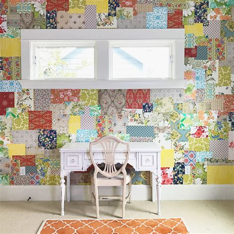 Patchwork Wall - how to make a patchwork wallpaper wall