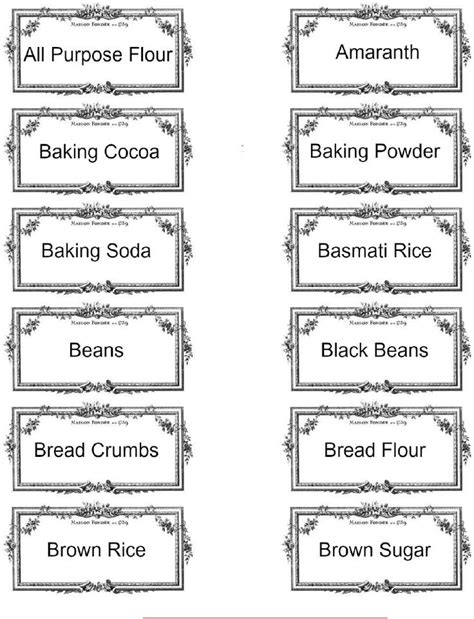 Pantry Labels Template by Printable Pantry Labels Printables