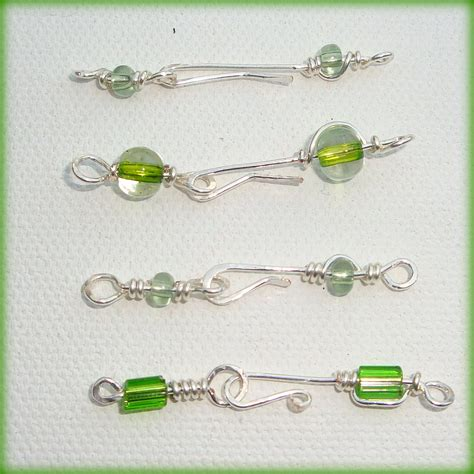 Handmade Clasp - four handmade silver beaded hook clasps craftjuice