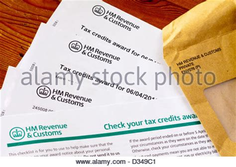 Tax Credit Form Guidance Notes Up Of Uk Tax Credits Award From Hm Revenue And Customs With Stock Photo Royalty Free