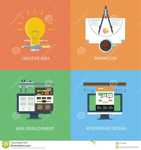 web development workflow process idea design web development workflow icons set stock