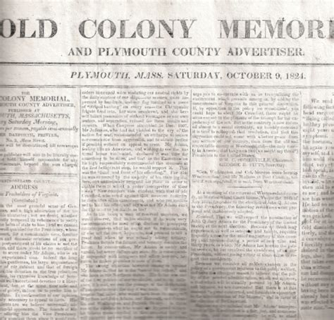 plymouth newspaper colony memorial newspaper