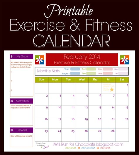 workout calendar template free printable exercise calendar