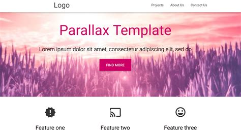 parallax template free material design parallax template