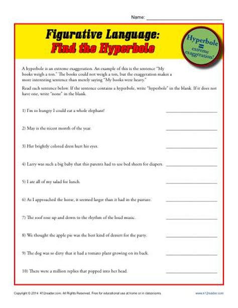 Free Figurative Language Worksheets by Printable Hyperbole Worksheets Middle School Printable