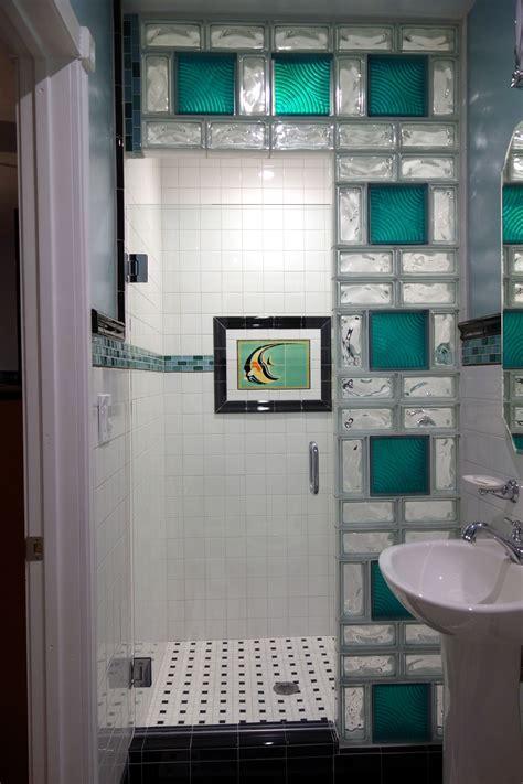 www.california glass tile   Glass block shower wall using