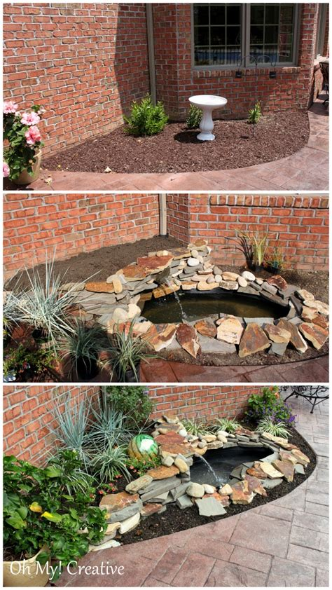 diy backyard pond landscape water feature oh creative