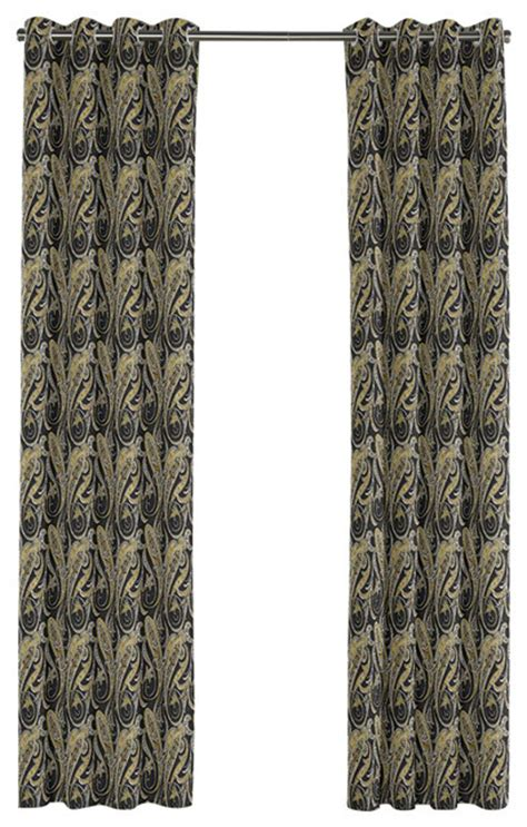 Gold Grommet Curtains Gold And Black Paisley Grommet Curtain Traditional Curtains By Loom Decor