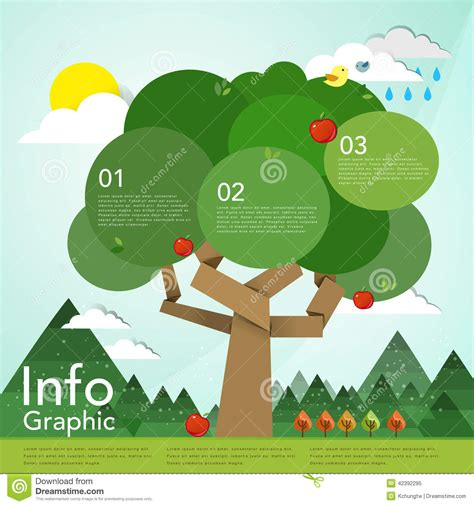 Lovely Flat Design Infographic With Tree Element Stock Vector Illustration 42392295 Linear Flat Family Tree Infographics