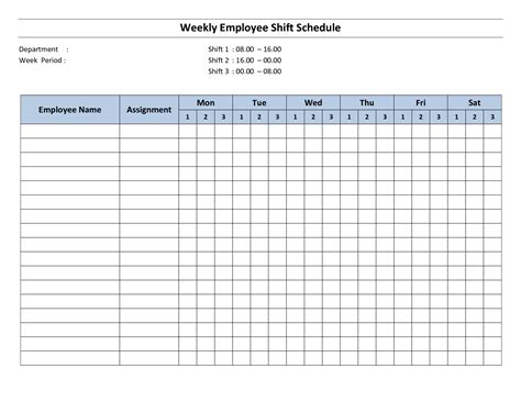 printable work schedule template weekly employees images