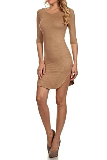 branded suede bodycon dress from san diego shoptiques