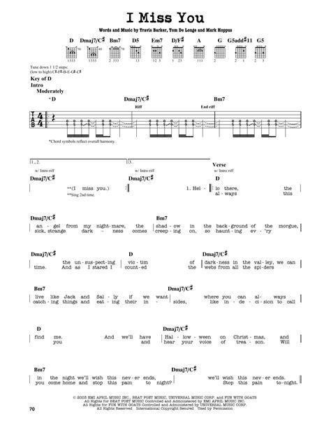 Partition Autre I Miss You De Blink 182 Tablature Kotaksurat