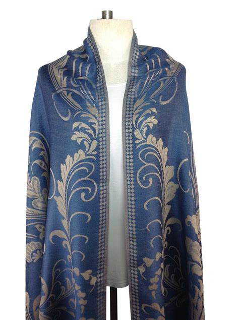 blue pattern scarf patterned blue pashmina direct from thailand