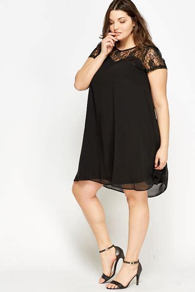 black lace swing dress black lace yoke swing dress just 163 5