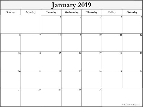 january calendar template printable january 2019 calendar calendar