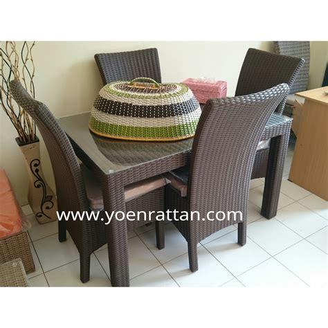Meja Makan Anyaman jual kursi meja makan rotan sintetis yoen rattan