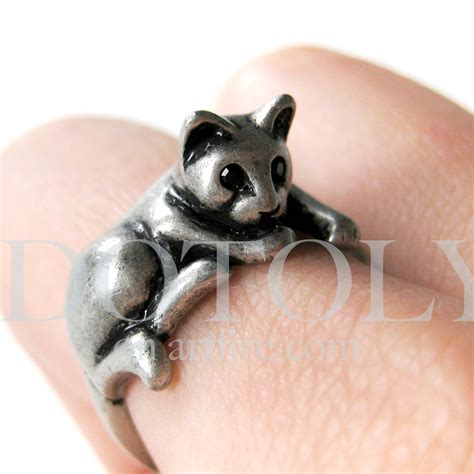 miniature cat animal pet ring in silver sizes 5 to 9