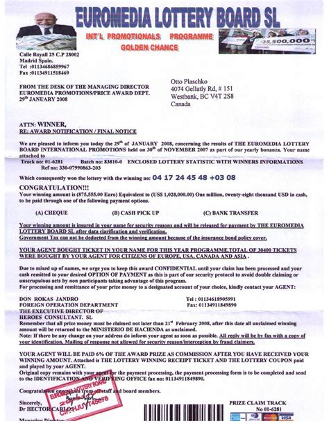 Sweepstakes Scams List - lottery scams euromedia lottery board sl and heroes consultant sl