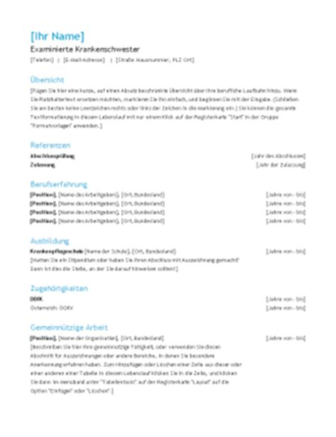 Lebenslauf Vorlage Krankenschwester Lebenslauf Design Quot Funktional Quot Office Templates