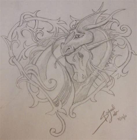 unicorn dragon tattoo design by deadnurmind on deviantart