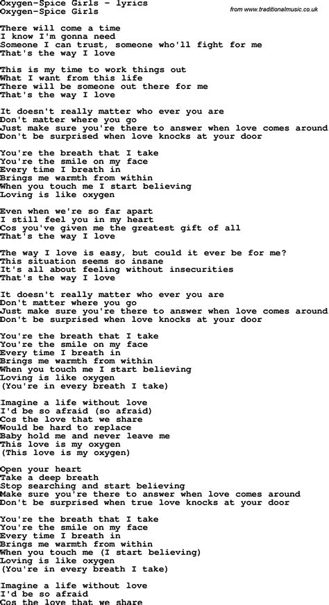 lyrics spice girl wannabe love song lyrics for oxygen spice girls trends world news