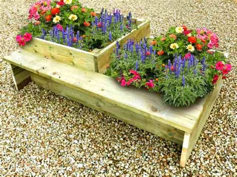 flower bed bench timber raised flower bed with split levels garden bench