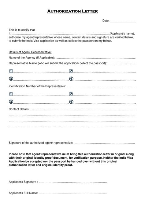 authorization letter sle for applying documents authorization letter for application visa 28 images