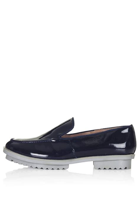 navy loafer topshop womens slip on loafers navy blue in blue