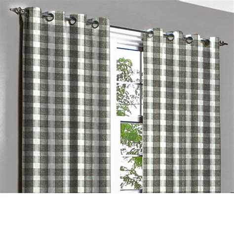 brown plaid curtains vintage linen brown plaid grommet lined curtain in textured