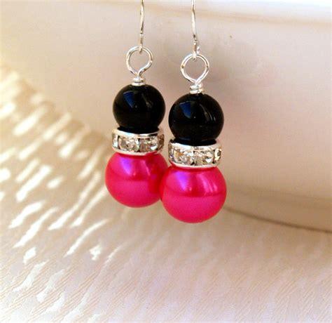 blackpink earrings black hot pink bridesmaid jewelry earrings hot pink black