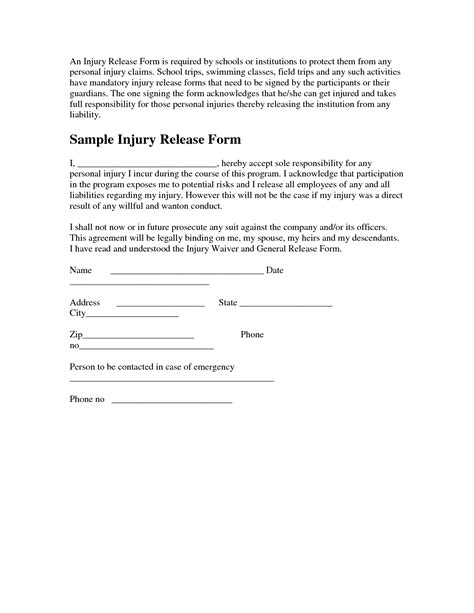 27 Images Of Injury Liability Release Form Template Infovia Net Personal Injury Release Form Template