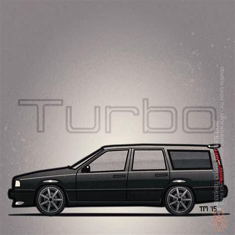 black volvo  wagon artwork illustration   volvo  turbo wagon  tom mayer monkey