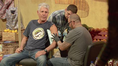 anthony bourdain tattoos the taste anthony bourdain ludo lefebvre get