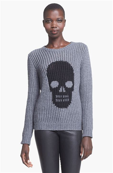 graphic knit sweaters autumn skull graphic knit sweater in gray