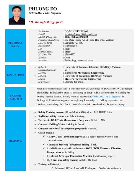 Mwd Field Engineer Sle Resume by Cv Do Minh Phuong Mwd Lwd Field Engineer