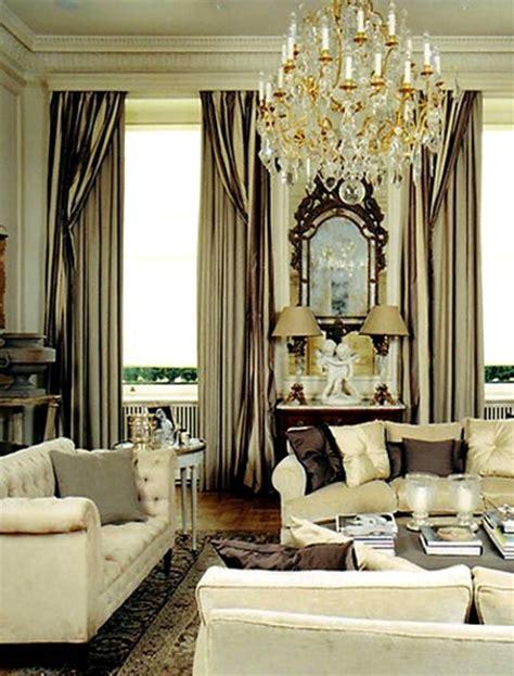 elegant drapes living room gray cream gold silky curtains window treatments pinterest