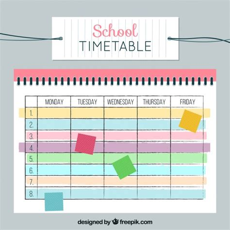 imagenes de notas escolares horario escolar con notas de colores descargar vectores