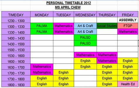 Timetable   The Class of 2 Hope 2012