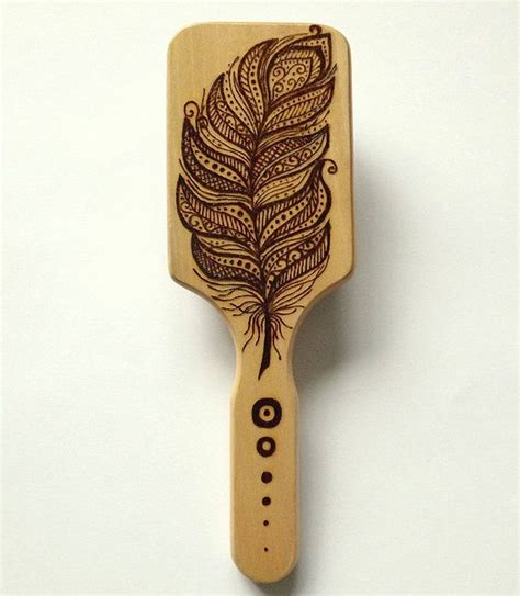 feathered brush back hair wood burning pyrography hair brush feather by