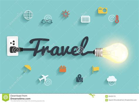 vector travel ideas concept creative light bulb design