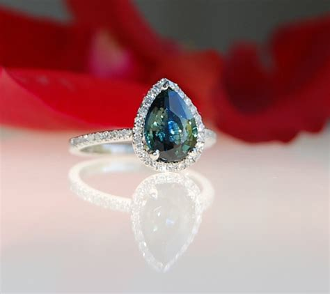 2 1ct pear peacock green blue color change sapphire
